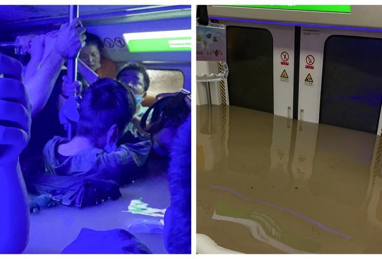 Metro de Zhengzhou, en China, quedó bajo el agua.