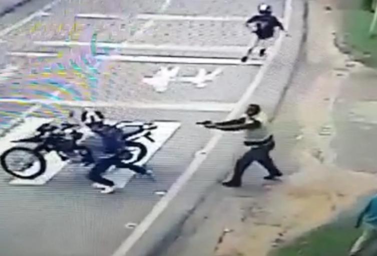 El uniformado lesionó con arma de fuego a un presunto ladrón.