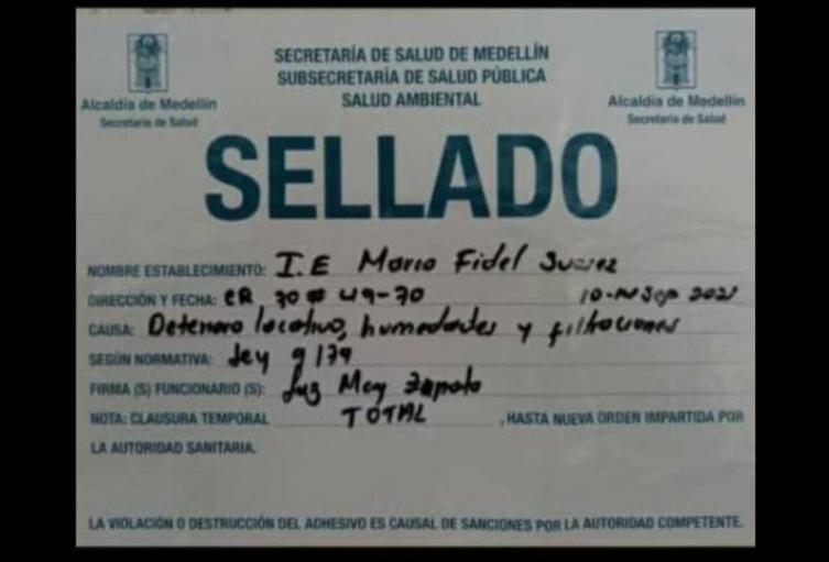 Sellamiento de la Institución Educativa Marco Fidel Suárez de Medellín.
