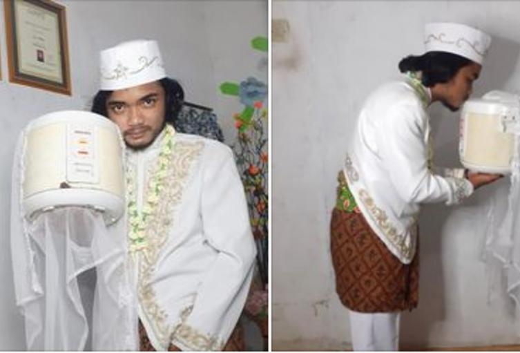 Hombre en Indonesia se casa con una olla arrocera