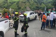 La Policía Nacional apoyando las labores de evacuación en Hidroituango, el 16 de mayo de 2018