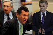 De izquierda a derecha: Álvaro Uribe, Jaime Lombana y Juan Manuel Santos