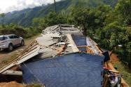 Vendaval en Tarazá dejó varias casas afectadas.