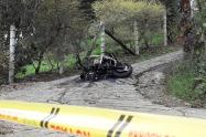 Moto incinerada en Girardota