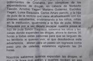 Panfleto amenazante que circular en resguardos indígenas del Suroeste de Antioquia.