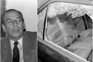 Álvaro Gómez Hurtado y el vehículo en que se movilizaba cuando fue asesinado, el 2 de noviembre de 1995 en Bogotá