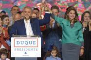 Iván Duque y Marta Lucía Ramírez celebran el triunfo de las presidenciales.