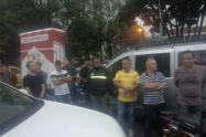 Protesta de trabajadores de Coltabaco en Medellín.
