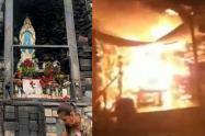 Velas causaron incendio en el Santuario de la Rosa Mística en Medellín