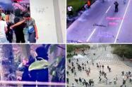 Las autoridades informaron que a esta hora desde el interior del claustro educativo los manifestantes lanzan artefactos explosivos.