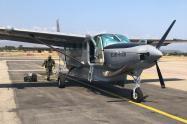 Avión del Ejército que transportó al Ñeñe