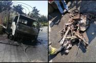 El impacto entre los automotores causó una explosión.