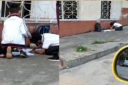 Menores afuera de un colegio de Ibagué.