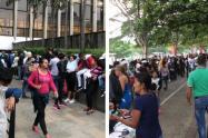 Venezolanos haciendo filas en el Centro Administrativo La Alpujarra