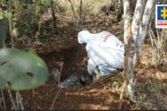 Una de las víctimas estaba incinerada y envuelta en bolsas.