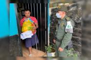 Policía de Medellín entregó una tonelada de alimentos a familias desplazada
