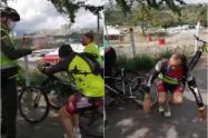 Ciclista finge agresión de un policía