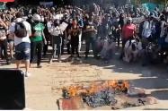 Protestas en el Parque de los Deseos de Medellín