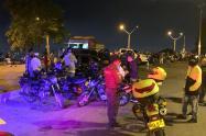 Los cogió el retén en las Palmas, autoridades inmovilizaron 42 motocicletas por violar las normas