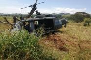 Así quedó la aeronave del Ejército.