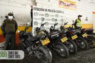 Las motocicletas fueron robadas por la modalidad de halado.