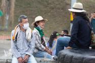 Referencia minga indígena en Medellín.