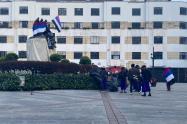 Derriban estatua de Gonzálo Jiménez de Quesada en Bogotá