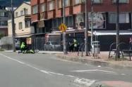 [Video] Dos policías heridos en atraco que acabó en balacera en Bogotá