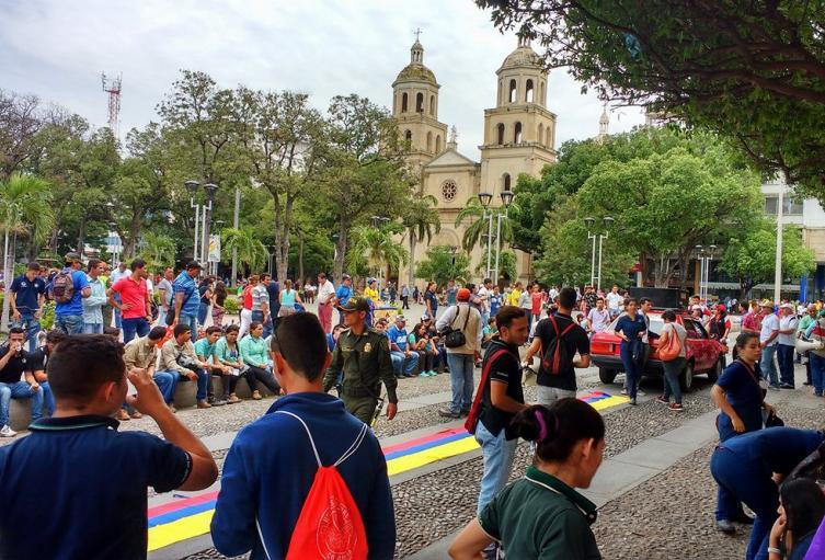 Protesta en el parque Santander de la ciudad de Cúcuta