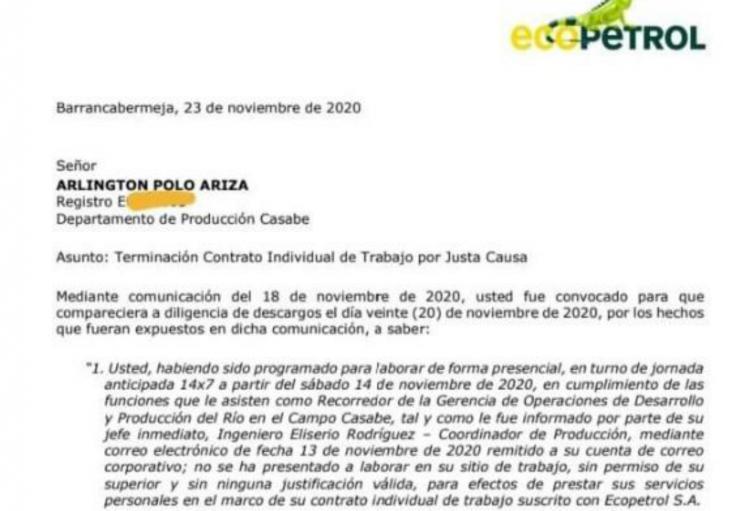 Ecopetrol hace pública la carta de desvinculación laboral dirigida a Arlington Polo, investigado por feminicidio en Barrancabermeja