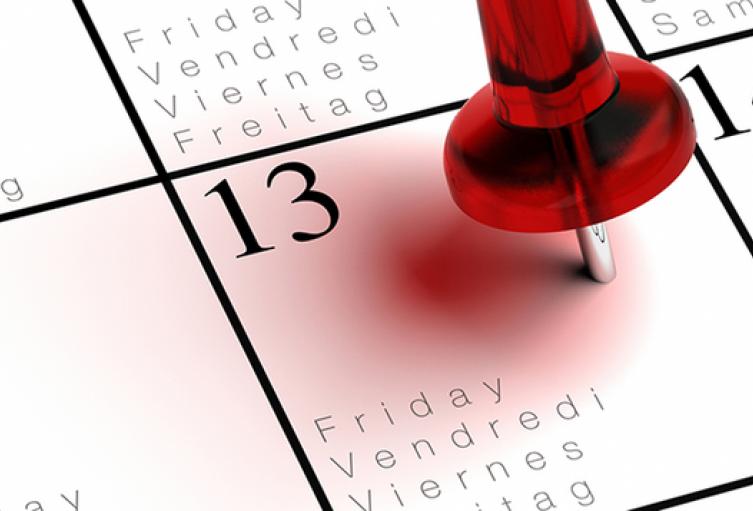 El Viernes 13 es asociado con mala suerte.