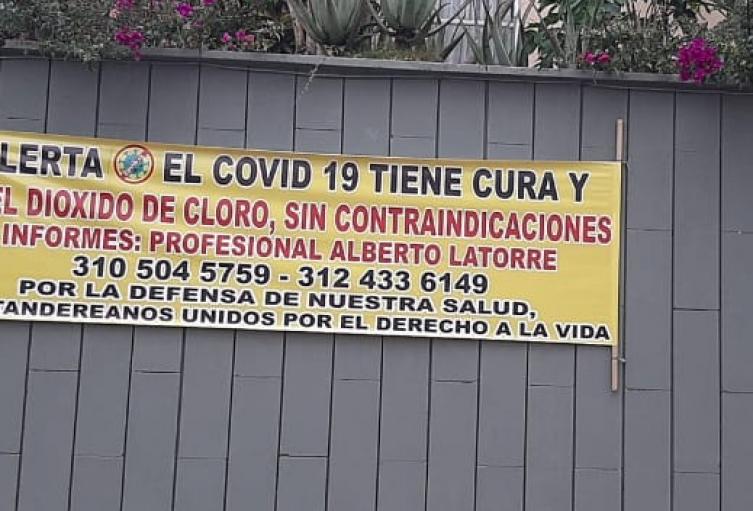 Polémica en Bucaramanga por publicidad que promociona el dióxido de cloro como cura para la Covid-19