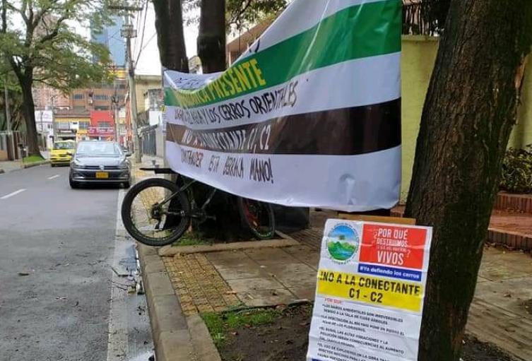 Trepado en un árbol joven santandereano protesta por la conectante C1 –C2