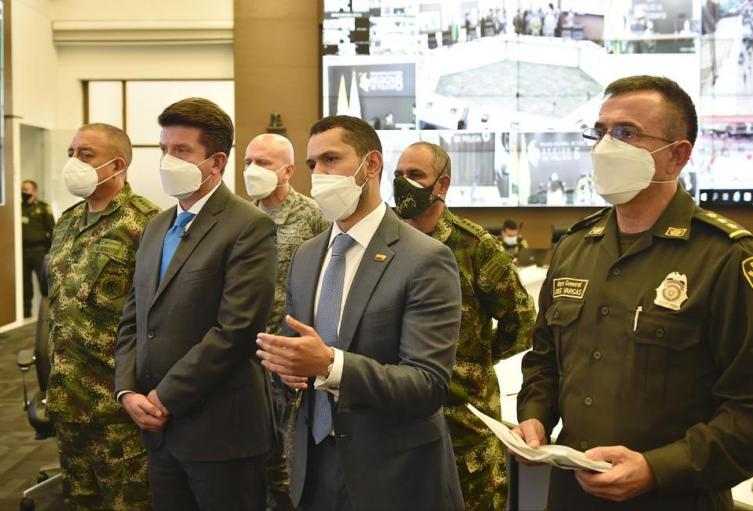 Ministro del Interior, Daniel Palacios, ministro de Defensa, Diego Molano, Director de la Policía, Jorge Vargas