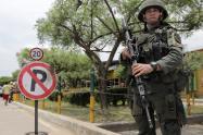 Policía vigila calles de Tibu, en la región del Catatumbo (Norte Santander)