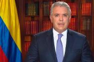 Presidente Iván Duque, en una intervención desde la Casa de Nariño.