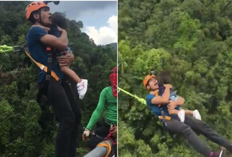 Irresponsable padre hizo jumping con hija sin ponerle equipo de seguridad