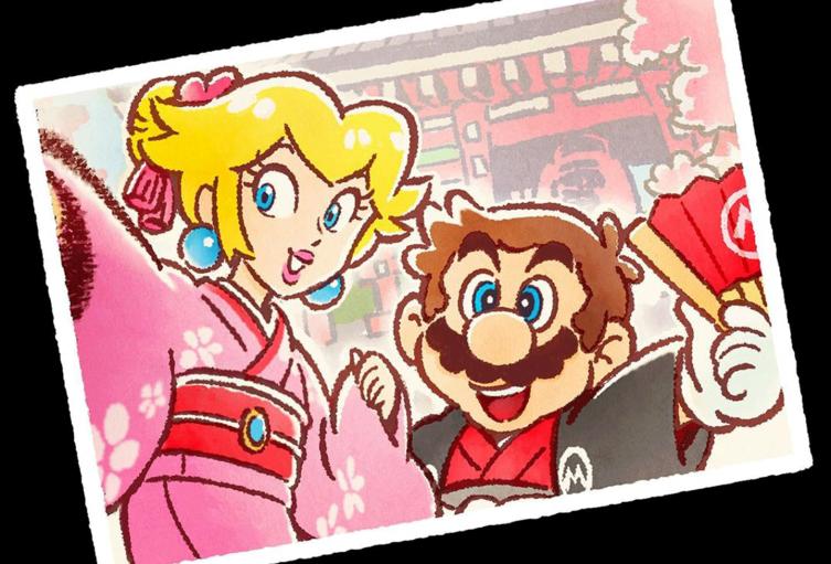 Postal de Mario Bros y la Princesa Peach