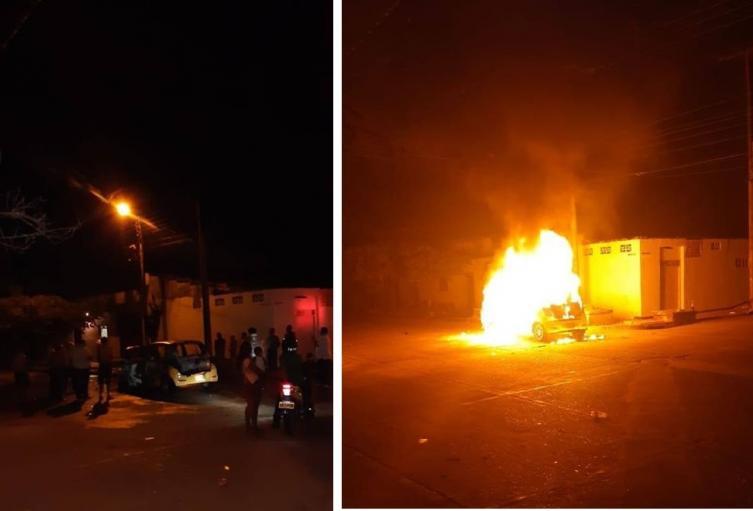 Taxi incendiado