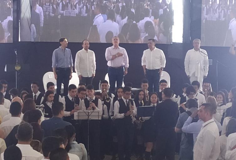 El presidente llegó acompañado del Ministro del Deporte