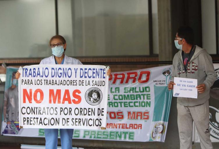 Protestas de trabajadores médicos y enfermeros en medio de coronavirus en Colombia