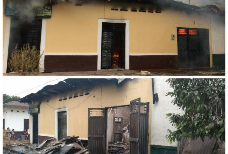 En el incendio estructural no se presentaron víctimas humanas, sólo pérdida total de las dos viviendas