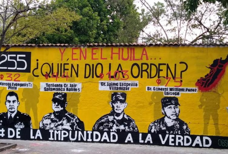 En el Huila pintan mural de Falsos Positivos