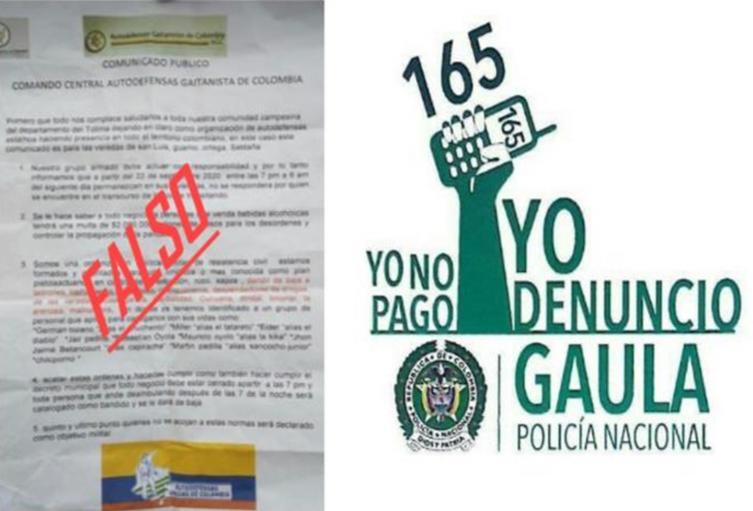 Panfleto atemorizante en el Tolima