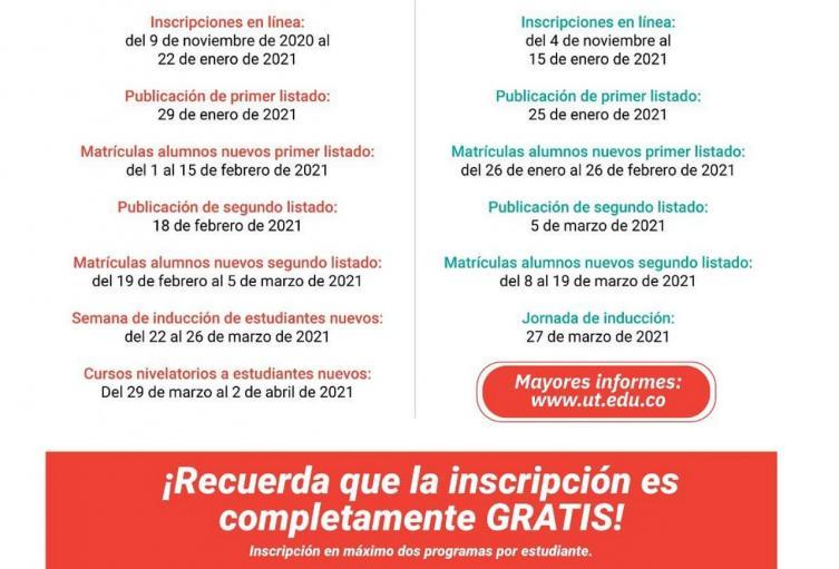 Inscripciones gratis Universidad del Tolima
