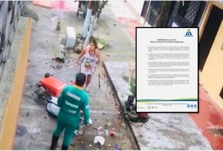Interaseo se pronunció y rechazó agresión a machete contra una de sus operarias