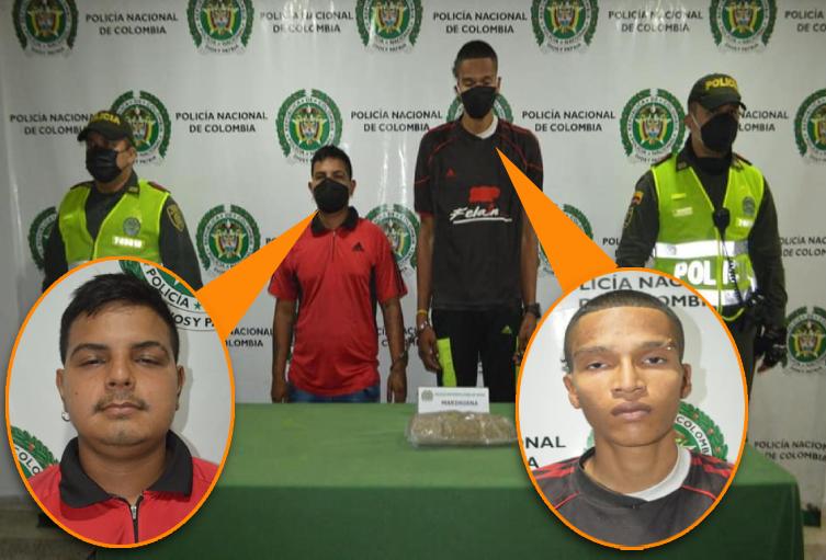 Capturados sujetos con 550 gramos de marihuana avaluada en dos millones de pesos