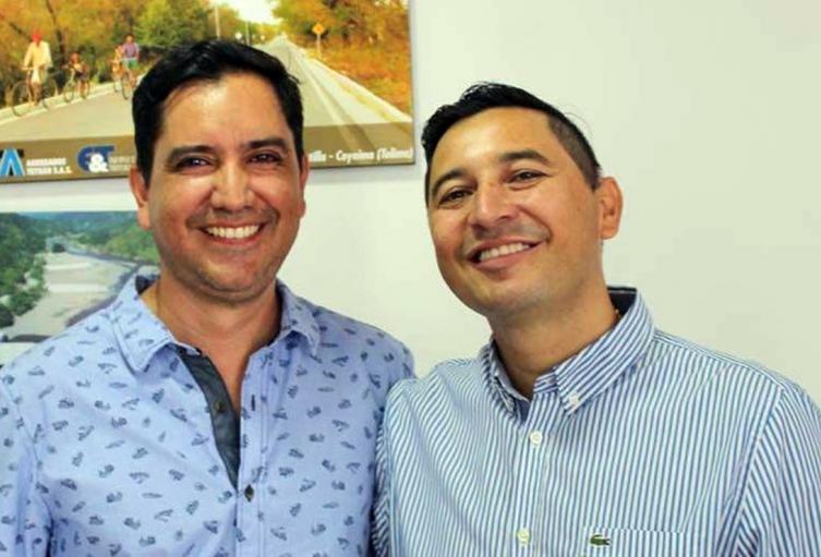 Alcalde de Ibagué, Andrés Fabián Hurtado y secretario de Movilidad, César Fabián Yáñez