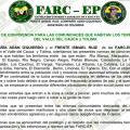 Publican presunto panfleto de las Farc con normas de convivencia en Valle del Cauca y Tolima