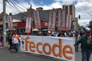 Marcha de docentes en Bogotá